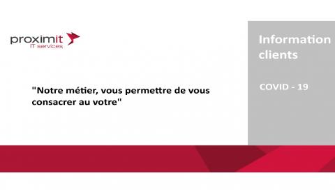 Message de la direction générale Proximit du 16 mars 2020 | COVID - 19